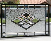 BEVELED DIAMONDS - Large Clear Stained Glass Window Panel, Stain Glass, Bevels, Clear Bevels, Beveled, Clear Glass, Diamonds,  Clear Window