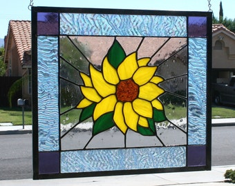 SUMMER SUNFLOWER - Large Stained Glass Window Panel