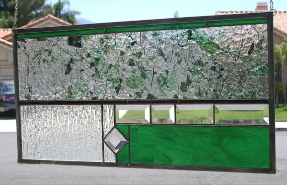 GARDEN WALL - Abstract Stained Glass Window Panel or Transom