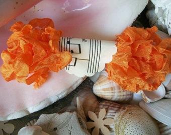 Seam Binding- Crinkled-Orange-Silky-Shabby-Ribbon