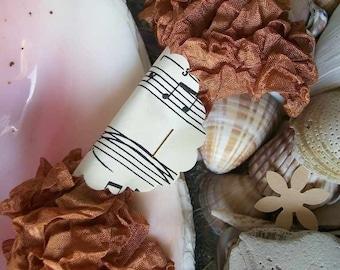 Seam Binding- Crinkled-Rust-Silky-Shabby-Ribbon-Scrunched