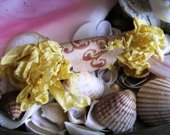 Vintage- Seam Binding- Crinkled- Golden Yellow-Silky-Shabby