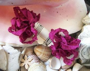 Seam Binding- Crinkled-Ruby-Silky-Shabby-Ribbon