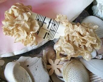 Seam Binding- Crinkled-Sandstone-Silky-Shabby-Ribbon