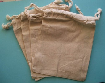 """Cotton Muslin Bags 5"""" x 8""""- Set of 4-Off White"""