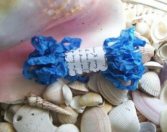 Seam Binding- Crinkled-Flower Blue-Silky-Scrunched-Ribbon