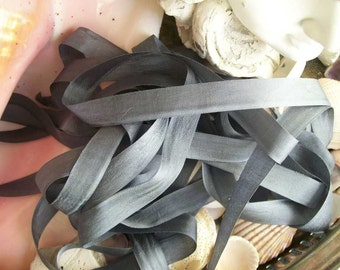 Vintage- Seam Binding-Charcoal-Silky-Ribbon