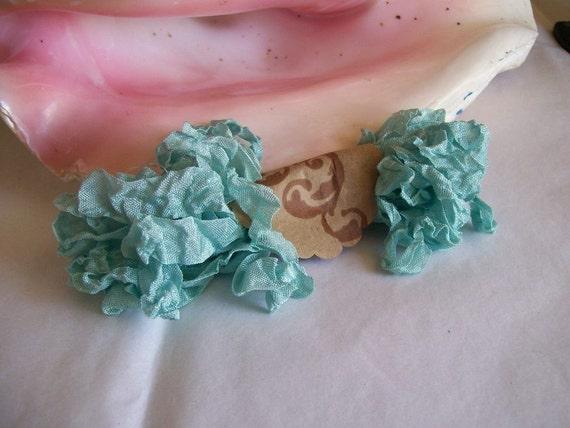Vintage- Seam Binding- Crinkled-Pale Aqua Blue-Silky-Shabby