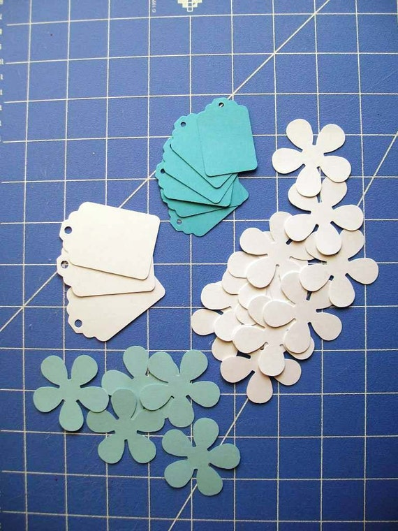 Paper Goods-Scrapbooking Embellishments-Tags and Flowers-White and Aqua