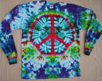 Peace Sign Tie Dye Long Sleeve Size XL