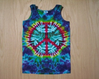 Ladies Peace Tie Dye Tank Top Small