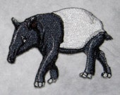 Lovely Black and White Malayan tapir Rain forest Iron on Patch