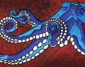 Huge Giant Octopus Octopie Jacket Back Iron on Patch Electric blue with emerald green eyes ready to ship