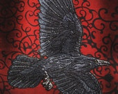 Awesome Flying  Raven Crow Black Bird Steam Punk Iron ON Patch