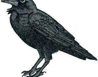 Awesome Huge Raven Crow Black Bird Steam Punk Iron ON Patch 100% embroidery