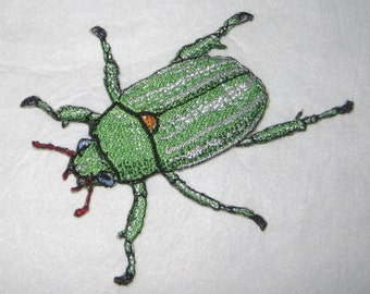 "Glorious Jeweled Scarab Beetle Chrysina ""Plusiotis"" gloriosa Steam Punk  Iron on Patch"