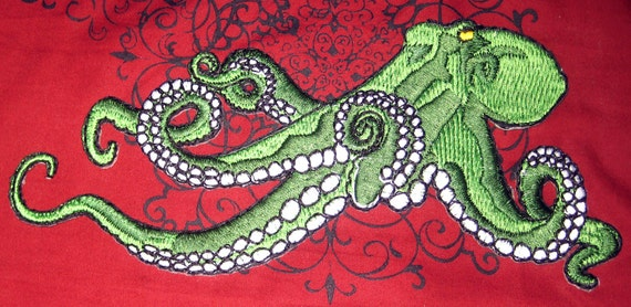 Huge Giant Octopus Octopie Jacket Back Iron On Patch Green