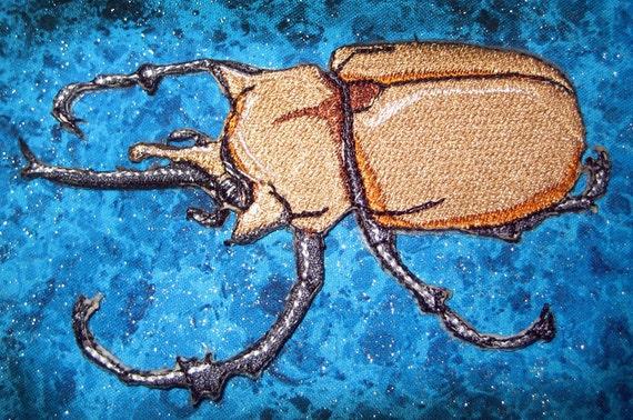 Awesome Elephant Beetle  megasoma elephas steam  insect  Iron on Patch