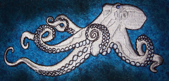 Huge Giant Octopus Octopie Jacket Back Iron on Patch White and Ice Blue ready to ship