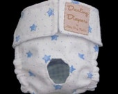 Dog Diapers for Small Dogs Blue Stars on White Flannel