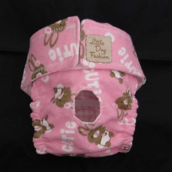 Ready to ship:  XS Dog Diapers Pink Cutie Bunny Print for Small Dogs