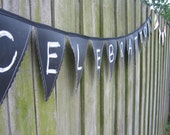 LAST ONE - Customizable Chalk Board Fabric Pennants or Bunting Flags