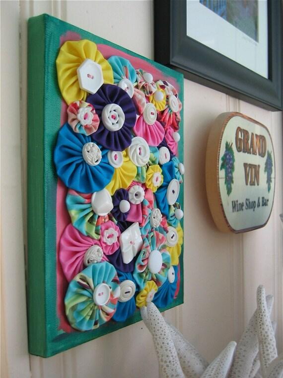 Blooms Fiber Art on Canvas
