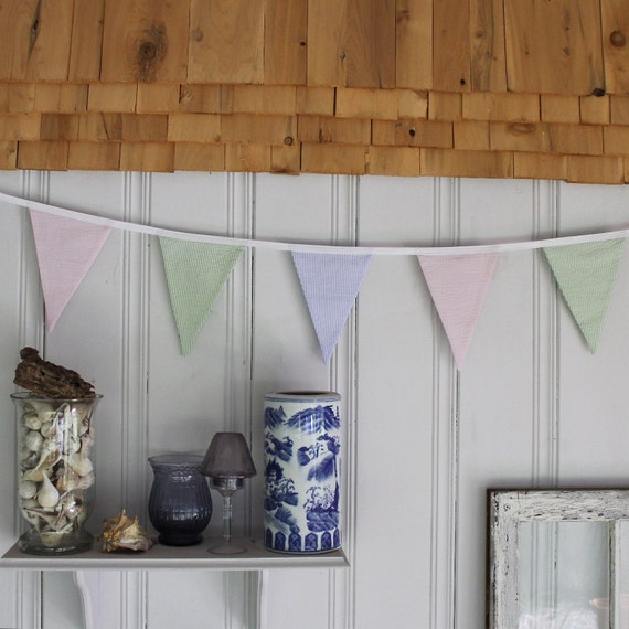 Bunting Flags or Pennants with Seersucker Pastel Colored Fabric 15 Feet