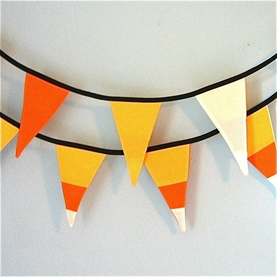 LAST ONE and FREE Shipping - candy corn halloween pennants or bunting flags