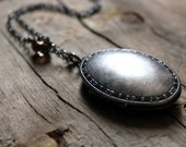Locket of Smoke and Mirrors. Antiqued Silver Perfume Necklace.