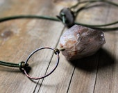 Marram. Rutilated Quartz and Leather Necklace.