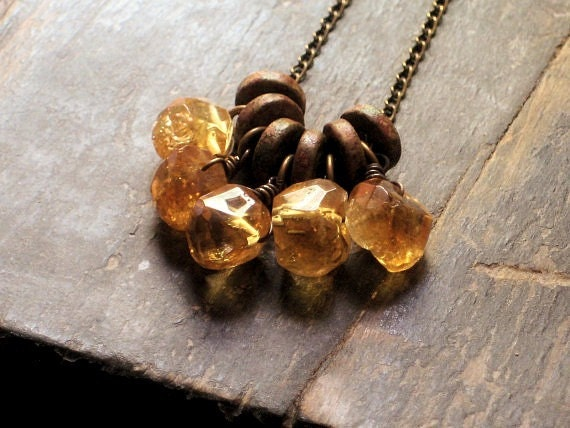Barley Bree. Citrine and Ceramic Cluster Necklace.