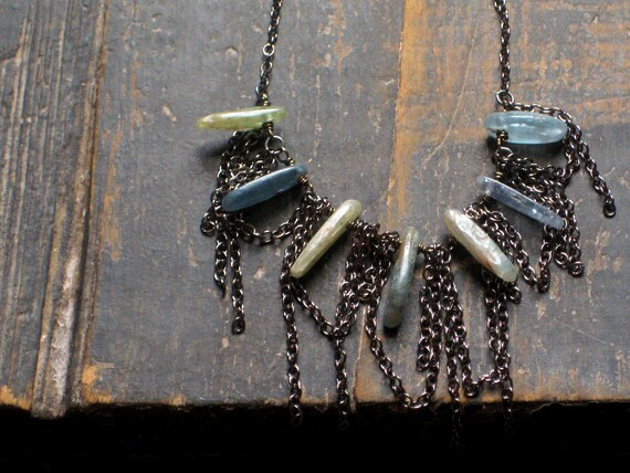Billows. Rustic Kyanite Blade Necklace.