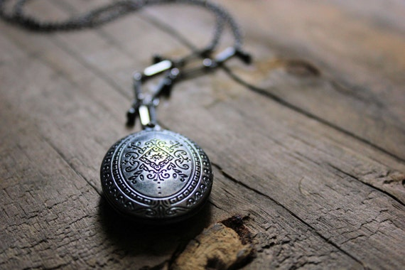 Locket of Gray Skies. Antiqued Silver Perfume Necklace.