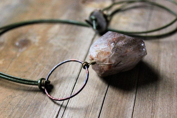 Marram. Rutilated Quartz and Leather Necklace.