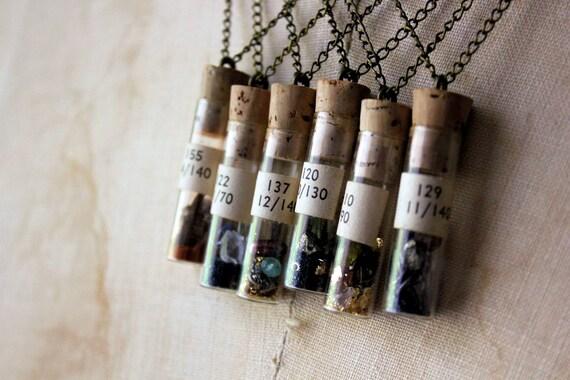 The Alchemist : Finding No. 120. Vintage Vial Pendant Necklace.