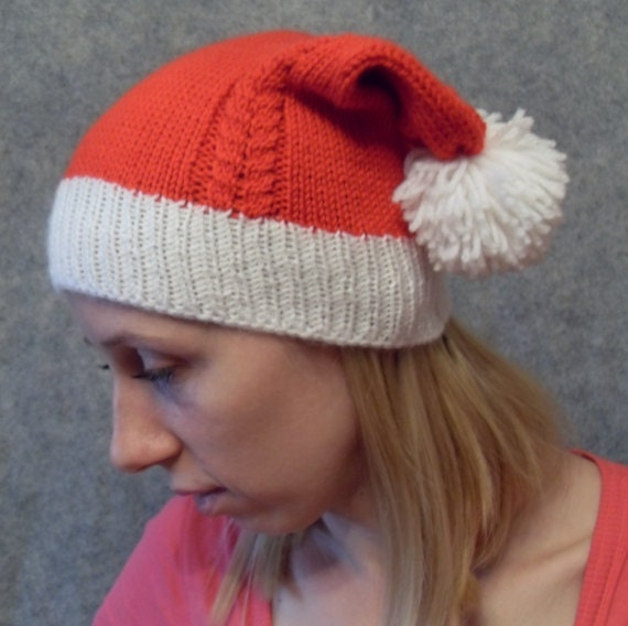 Double tailed cable knitted Santa hat like Penny's hat from Big bang theory