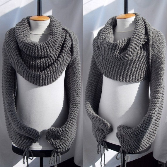 Knitting Pattern For Scarf With Sleeves : Bolero sweater Scarf Shawl with sleeves at both ends in grey.