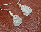 White  genuine sea glass earrings sterling silver wire wrapped
