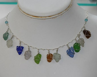 SEA GLASS WIRE WRAPPED SEA GLASS NECKLACE