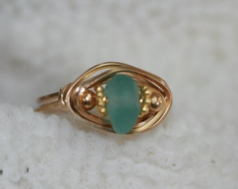 size from 5 to 11 AQUA  sea glass genuine beach glass ring wire wrapped in 14kt gold filled surf tumbled sea glass nautical ring