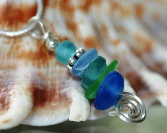 Sea Spiral - sea glass beach glass pendant and 18 inch chain