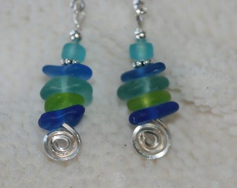 Sea spiral beach sea glass earrings and 925 sterling silver