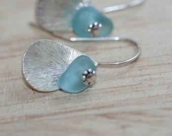 aqua blue genuine sea glass diamond cut  teardrop earrings sterling silver hooks
