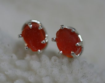 EXTREMELY  RARE  ORANGE  beach sea glass 925 sterling silver  studs post earrings