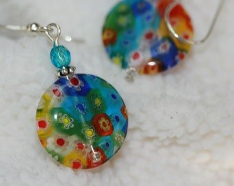Millefiori glass earrings and sterling silver