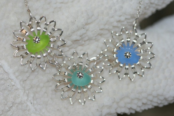 Genuine blue aqua and lime green sea glass filigree flower necklace and sterling chain