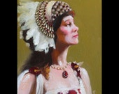 The Headdress, Original Daily Oil Painting a Day, by Cecil Irving