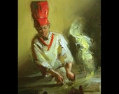 Hibachi, Original Daily Oil Painting a Day, by Cecil Irving