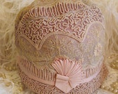 ON RESERVE FOR CHRISTINE DO NOT PURCHASE Circa 1920s Exquisite Floral Lace Cloche Adorned With Pink Grosgrain Ribbon